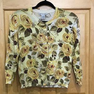CAbi yellow floral rose print cardigan snap front